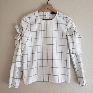Zara Bow Sleeve Black and White Top